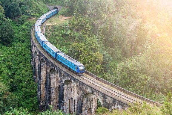 Blue train goes through jungle, slight motion blur
